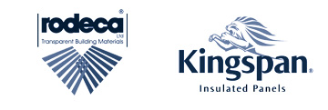 Rodeca and Kingspan Insulated Panels logos